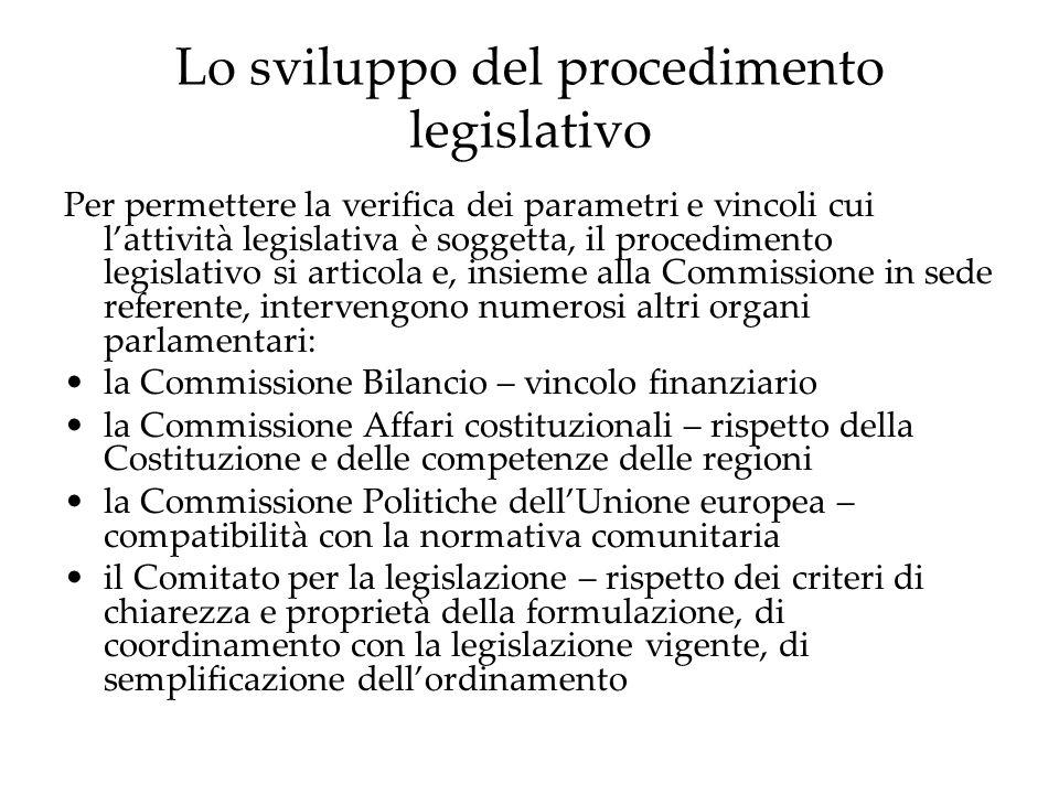 Lo sviluppo del procedimento legislativo Per permettere la verifica dei parametri e vincoli cui l'attività legislativa è soggetta, il procedimento legislativo si articola e, insieme alla Commissione in sede referente, intervengono numerosi altri organi parlamentari: la Commissione Bilancio – vincolo finanziario la Commissione Affari costituzionali – rispetto della Costituzione e delle competenze delle regioni la Commissione Politiche dell'Unione europea – compatibilità con la normativa comunitaria il Comitato per la legislazione – rispetto dei criteri di chiarezza e proprietà della formulazione, di coordinamento con la legislazione vigente, di semplificazione dell'ordinamento