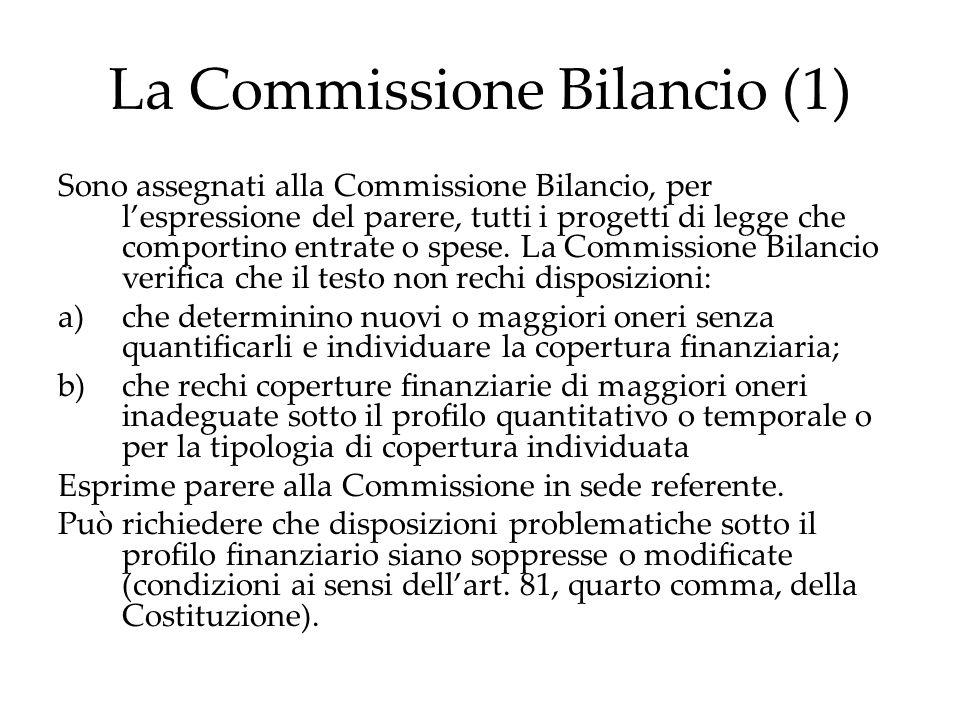 La Commissione Bilancio (1) Sono assegnati alla Commissione Bilancio, per l'espressione del parere, tutti i progetti di legge che comportino entrate o spese.