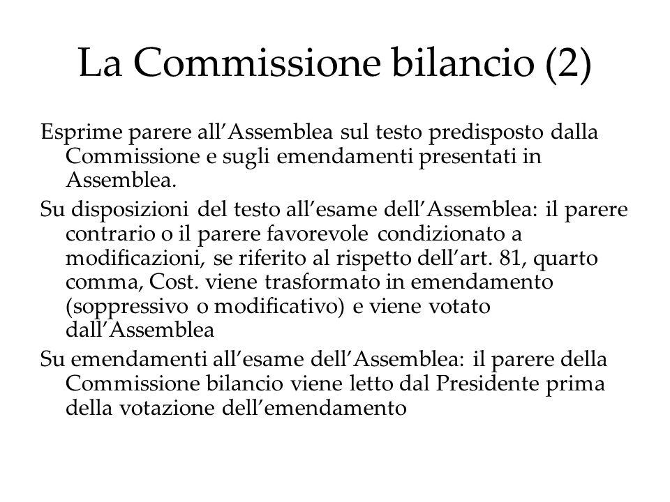La Commissione bilancio (2) Esprime parere all'Assemblea sul testo predisposto dalla Commissione e sugli emendamenti presentati in Assemblea.