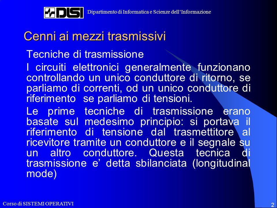 Corso di SISTEMI OPERATIVI Dipartimento di Informatica e Scienze dell'Informazione 2 Cenni ai mezzi trasmissivi Tecniche di trasmissione I circuiti el