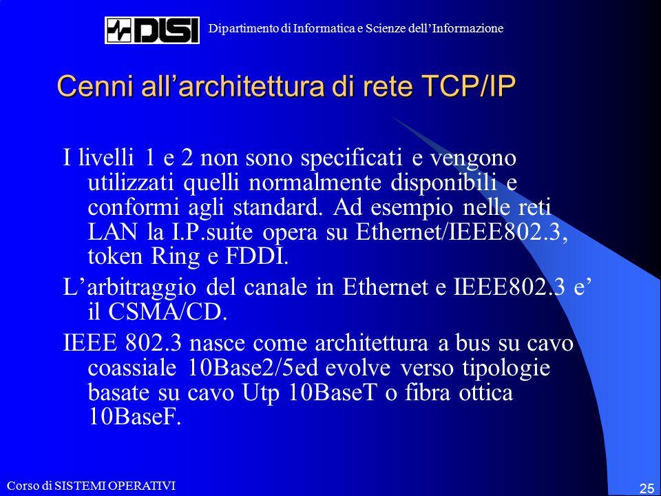 Corso di SISTEMI OPERATIVI Dipartimento di Informatica e Scienze dell'Informazione 25 Cenni all'architettura di rete TCP/IP I livelli 1 e 2 non sono specificati e vengono utilizzati quelli normalmente disponibili e conformi agli standard.