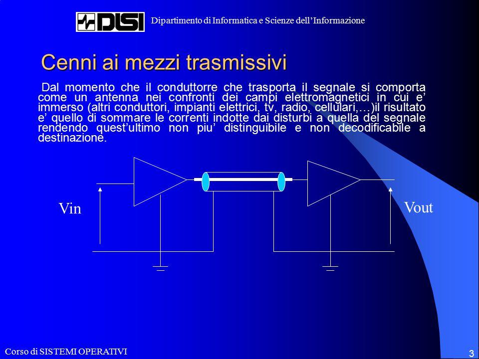 Corso di SISTEMI OPERATIVI Dipartimento di Informatica e Scienze dell'Informazione 3 Cenni ai mezzi trasmissivi Dal momento che il conduttorre che tra