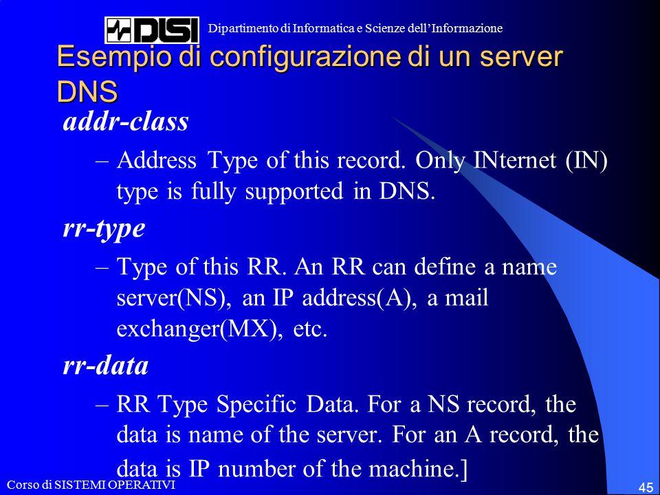 Corso di SISTEMI OPERATIVI Dipartimento di Informatica e Scienze dell'Informazione 45 Esempio di configurazione di un server DNS addr-class –Address T