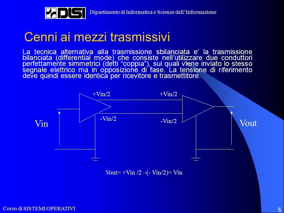 Corso di SISTEMI OPERATIVI Dipartimento di Informatica e Scienze dell'Informazione 5 Cenni ai mezzi trasmissivi La tecnica alternativa alla trasmissio
