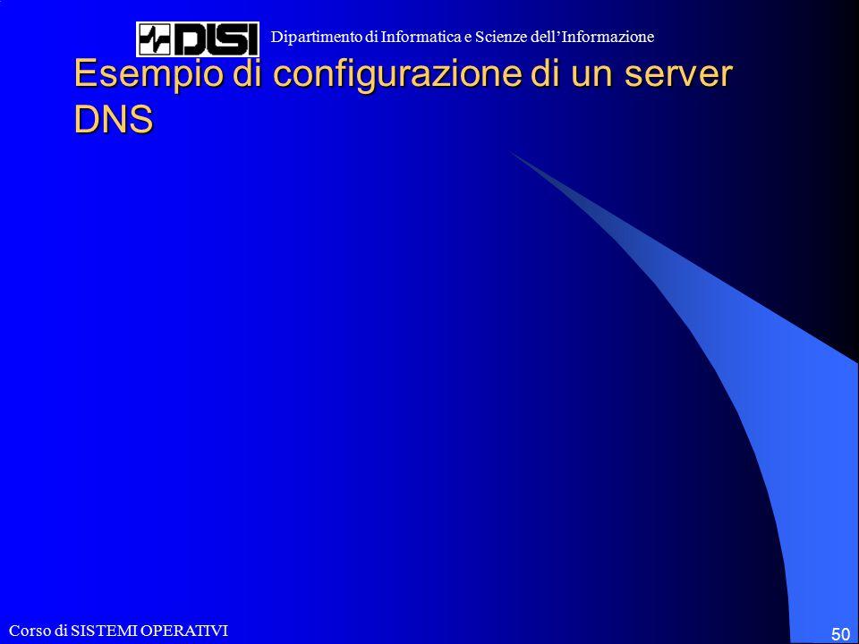Corso di SISTEMI OPERATIVI Dipartimento di Informatica e Scienze dell'Informazione 50 Esempio di configurazione di un server DNS