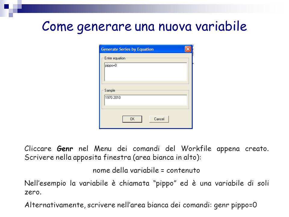 Come generare una nuova variabile Cliccare Genr nel Menu dei comandi del Workfile appena creato. Scrivere nella apposita finestra (area bianca in alto
