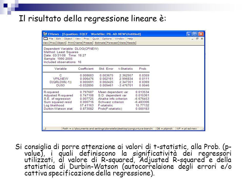 Il risultato della regressione lineare è: Si consiglia di porre attenzione ai valori di t-statistic, alla Prob. (p- value), i quali definiscono la sig
