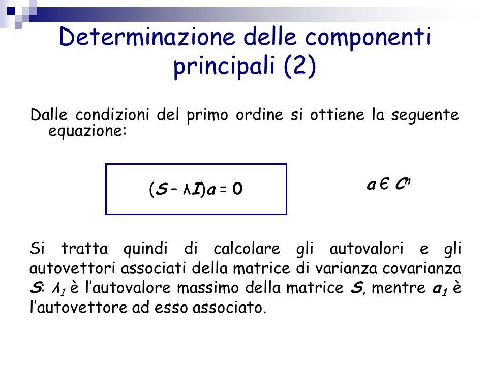 Determinazione delle componenti principali (2) Dalle condizioni del primo ordine si ottiene la seguente equazione: (S – λI)a = 0 a Є Cna Є Cn Si tratt