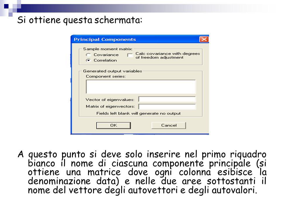 Si ottiene questa schermata: A questo punto si deve solo inserire nel primo riquadro bianco il nome di ciascuna componente principale (si ottiene una