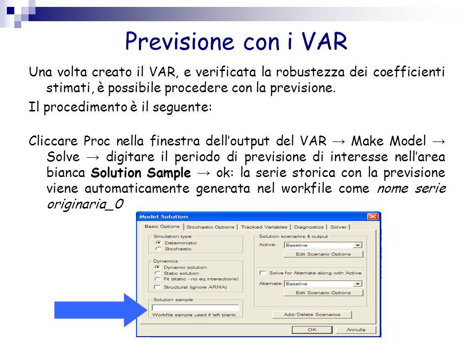 Previsione con i VAR Una volta creato il VAR, e verificata la robustezza dei coefficienti stimati, è possibile procedere con la previsione. Il procedi