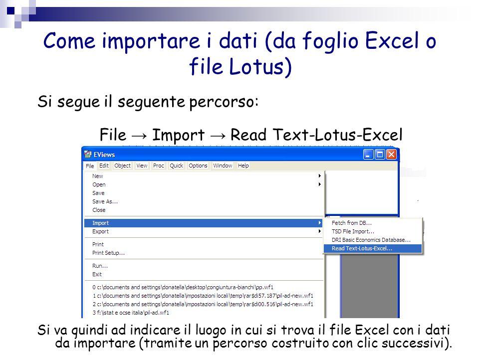 Come importare i dati (da foglio Excel o file Lotus) Compare quindi la seguente schermata: Dopo avere selezionato se i dati da importare sono tabulati per riga o colonna (Data order), nel box Upper-left data cell si deve digitare l'indicazione della colonna del foglio Excel in cui si trova il primo dato, nel box Excel 5+ sheet name il nome del foglio excel e nel box Name for series si digita il nome della variabile che comparirà poi nel workfile.