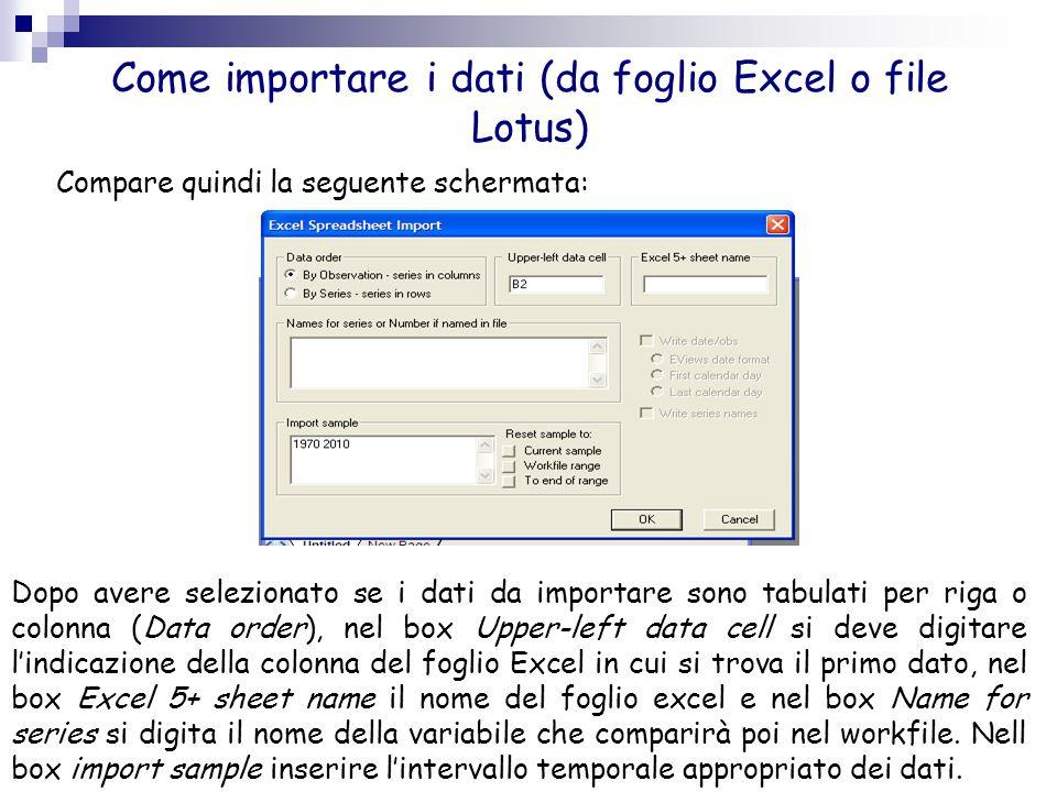 Come importare i dati (da foglio Excel o file Lotus) Compare quindi la seguente schermata: Dopo avere selezionato se i dati da importare sono tabulati