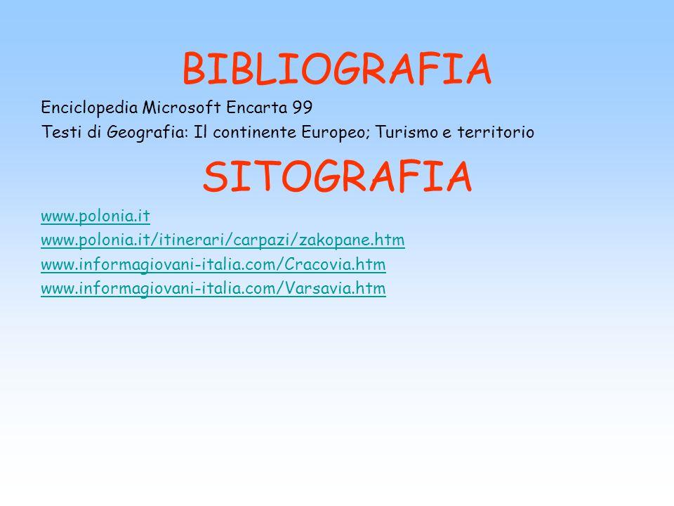 BIBLIOGRAFIA Enciclopedia Microsoft Encarta 99 Testi di Geografia: Il continente Europeo; Turismo e territorio SITOGRAFIA www.polonia.it www.polonia.i