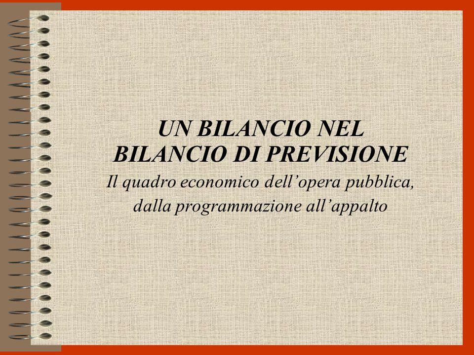 UN BILANCIO NEL BILANCIO DI PREVISIONE Il quadro economico dell'opera pubblica, dalla programmazione all'appalto