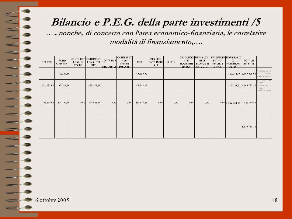 6 ottobre 200518 Bilancio e P.E.G. della parte investimenti /5 …., nonché, di concerto con l'area economico-finanziaria, le correlative modalità di fi