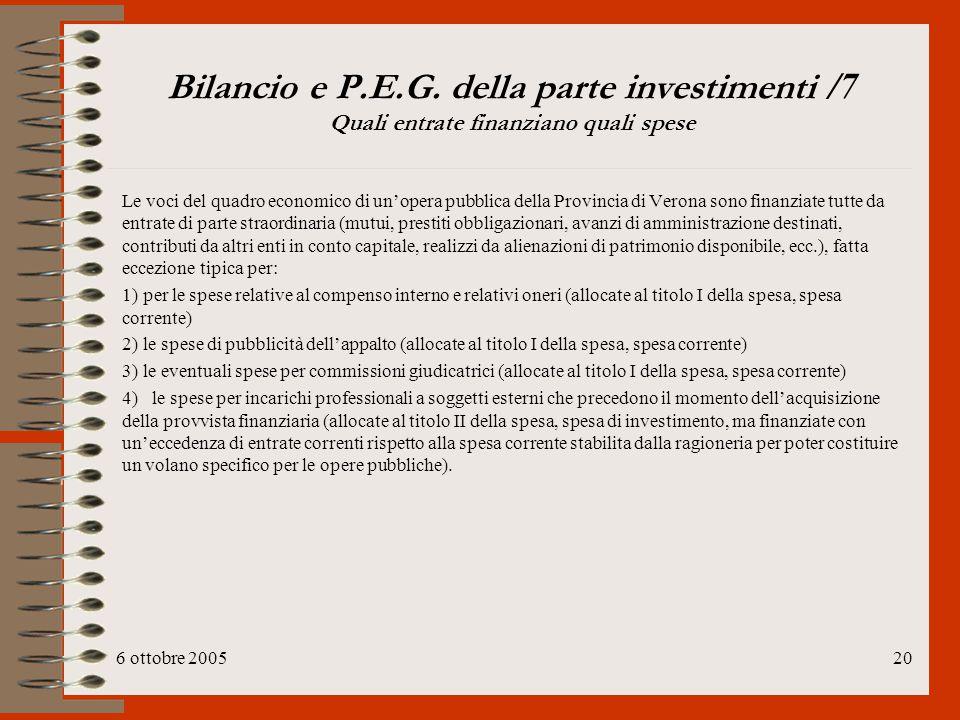 6 ottobre 200520 Bilancio e P.E.G. della parte investimenti /7 Quali entrate finanziano quali spese Le voci del quadro economico di un'opera pubblica