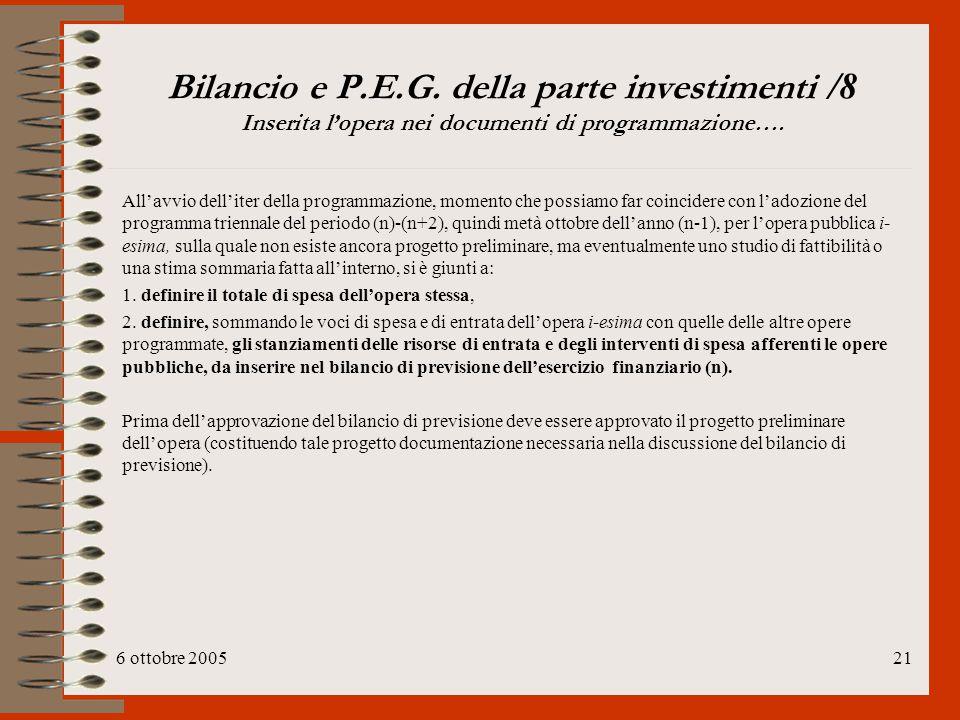 6 ottobre 200521 Bilancio e P.E.G. della parte investimenti /8 Inserita l'opera nei documenti di programmazione…. All'avvio dell'iter della programmaz