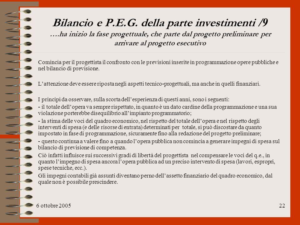6 ottobre 200522 Bilancio e P.E.G. della parte investimenti /9 ….ha inizio la fase progettuale, che parte dal progetto preliminare per arrivare al pro
