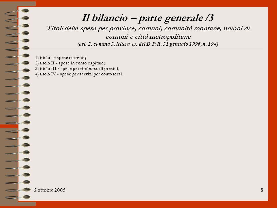 6 ottobre 200519 Bilancio e P.E.G.