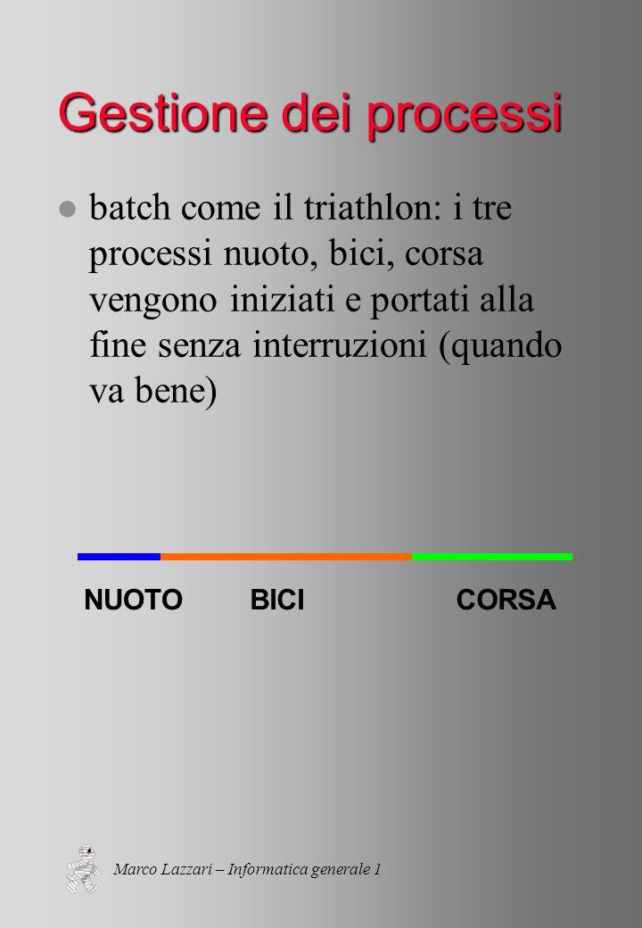 Marco Lazzari – Informatica generale 1 Gestione dei processi l batch come il triathlon: i tre processi nuoto, bici, corsa vengono iniziati e portati alla fine senza interruzioni (quando va bene) NUOTOBICICORSA