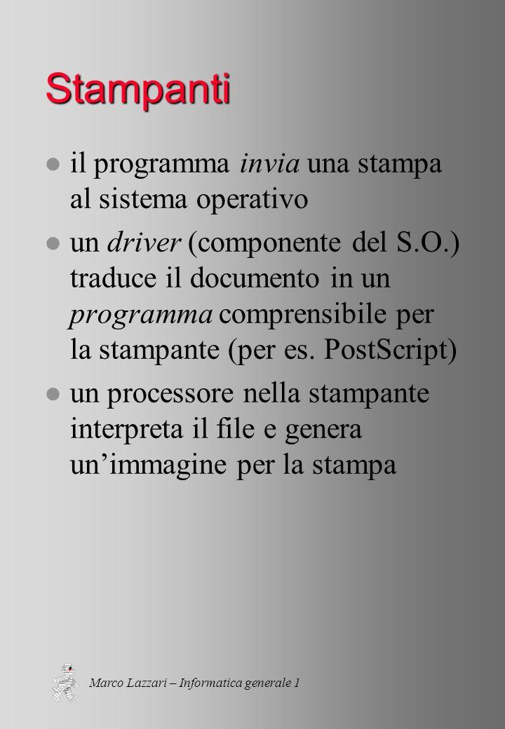 Marco Lazzari – Informatica generale 1 Stampanti l il programma invia una stampa al sistema operativo l un driver (componente del S.O.) traduce il documento in un programma comprensibile per la stampante (per es.