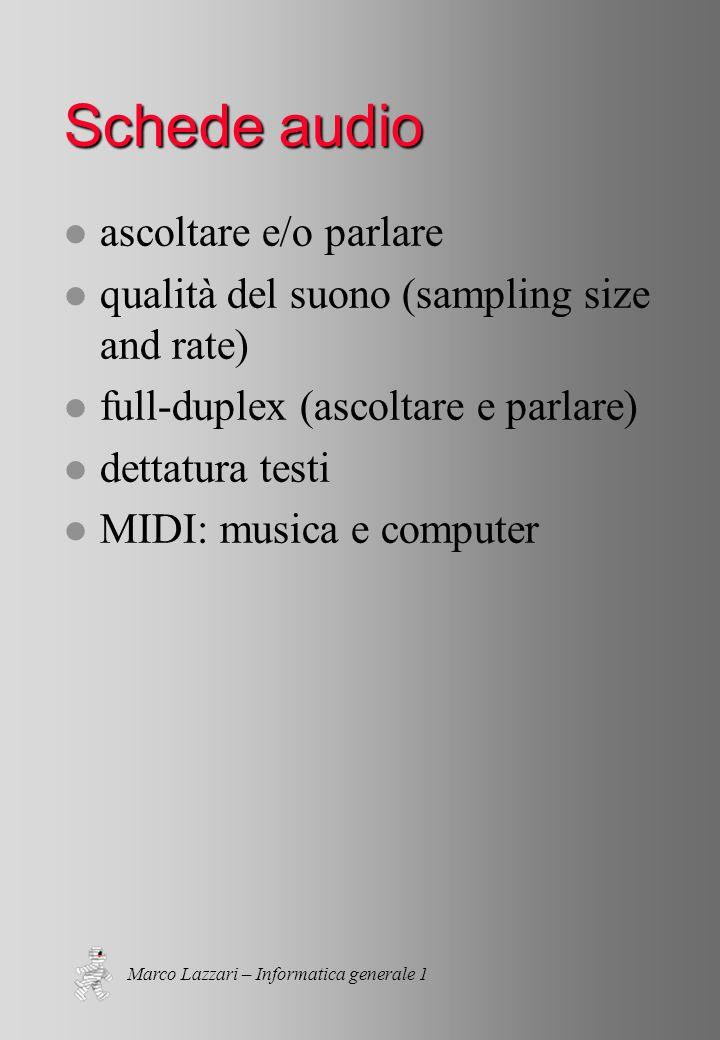 Marco Lazzari – Informatica generale 1 Schede audio l ascoltare e/o parlare l qualità del suono (sampling size and rate) l full-duplex (ascoltare e parlare) l dettatura testi l MIDI: musica e computer