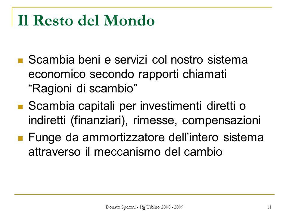 """Donato Speroni - Ifg Urbino 2008 - 2009 11 Il Resto del Mondo Scambia beni e servizi col nostro sistema economico secondo rapporti chiamati """"Ragioni d"""