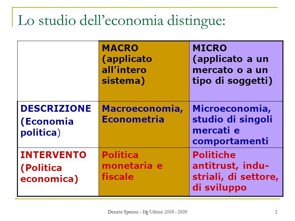 Donato Speroni - Ifg Urbino 2008 - 2009 2 Lo studio dell'economia distingue: MACRO (applicato all'intero sistema) MICRO (applicato a un mercato o a un