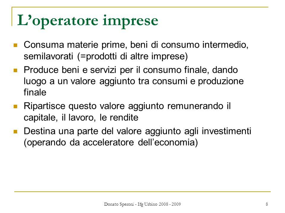 Donato Speroni - Ifg Urbino 2008 - 2009 8 L'operatore imprese Consuma materie prime, beni di consumo intermedio, semilavorati (=prodotti di altre impr