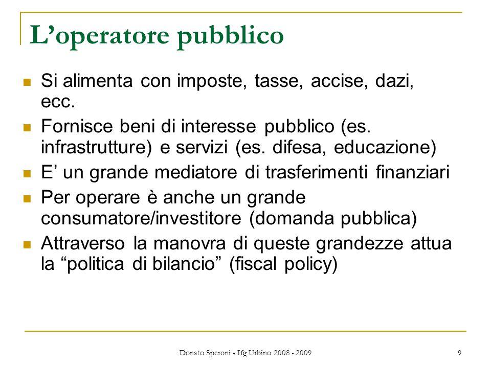 Donato Speroni - Ifg Urbino 2008 - 2009 9 L'operatore pubblico Si alimenta con imposte, tasse, accise, dazi, ecc. Fornisce beni di interesse pubblico