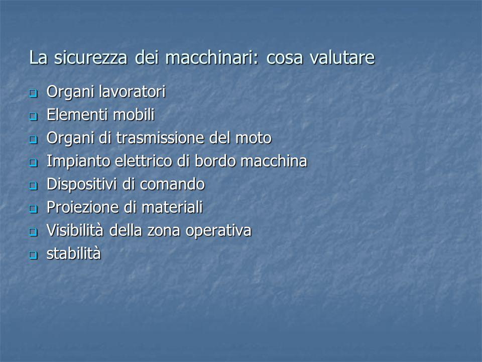 La sicurezza dei macchinari: cosa valutare  Organi lavoratori  Elementi mobili  Organi di trasmissione del moto  Impianto elettrico di bordo macch