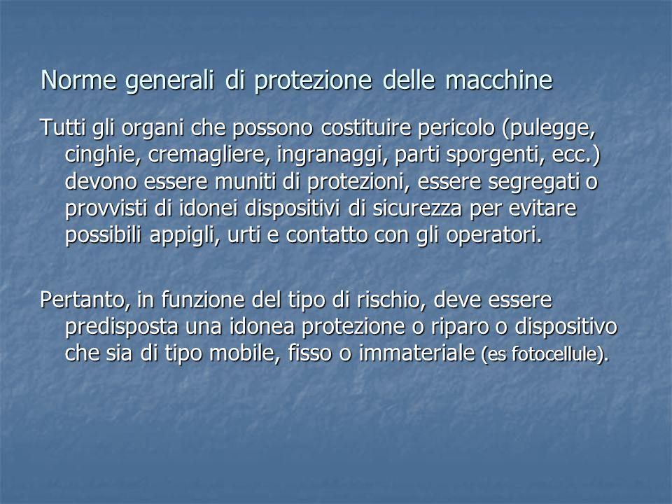 Norme generali di protezione delle macchine Tutti gli organi che possono costituire pericolo (pulegge, cinghie, cremagliere, ingranaggi, parti sporgen