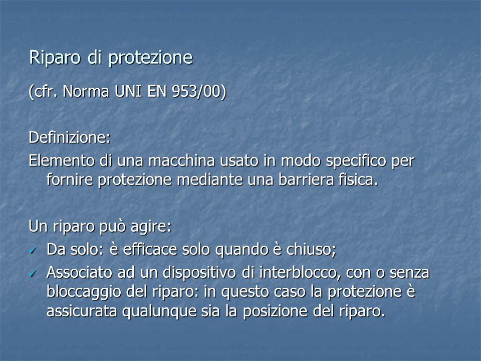Riparo di protezione (cfr. Norma UNI EN 953/00) Definizione: Elemento di una macchina usato in modo specifico per fornire protezione mediante una barr