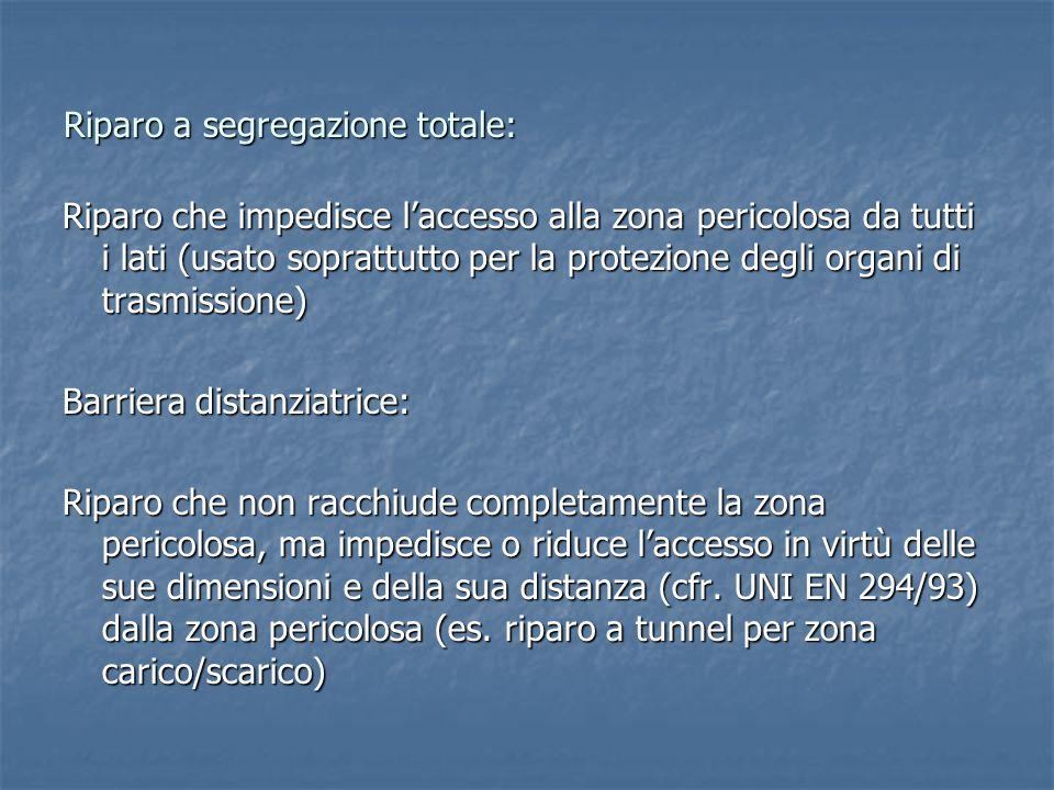 Riparo a segregazione totale: Riparo che impedisce l'accesso alla zona pericolosa da tutti i lati (usato soprattutto per la protezione degli organi di