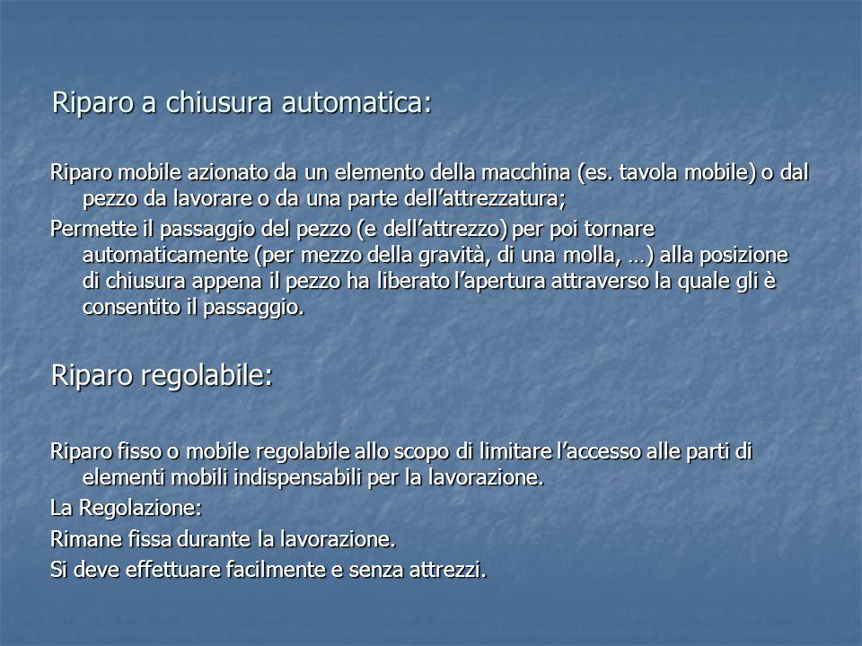 Riparo a chiusura automatica: Riparo mobile azionato da un elemento della macchina (es. tavola mobile) o dal pezzo da lavorare o da una parte dell'att