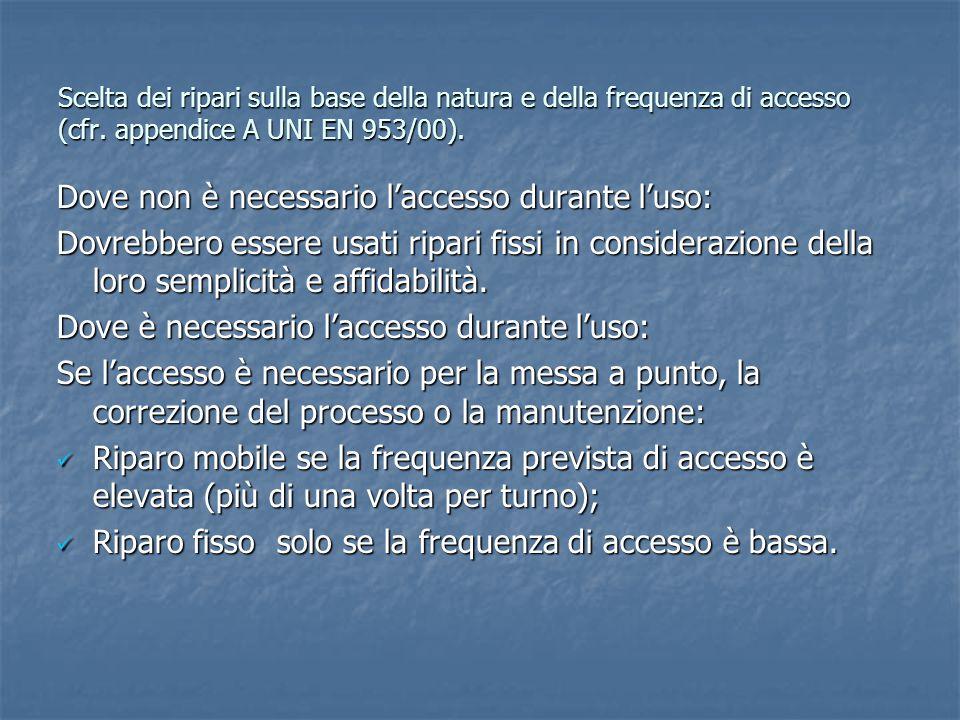 Scelta dei ripari sulla base della natura e della frequenza di accesso (cfr. appendice A UNI EN 953/00). Dove non è necessario l'accesso durante l'uso