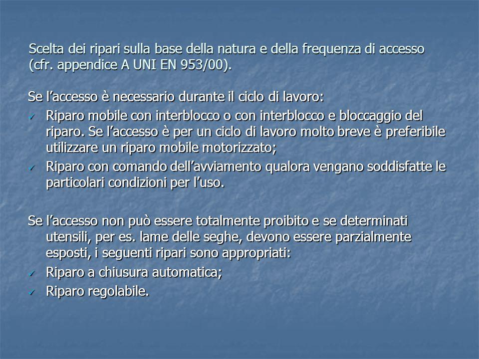 Scelta dei ripari sulla base della natura e della frequenza di accesso (cfr. appendice A UNI EN 953/00). Se l'accesso è necessario durante il ciclo di