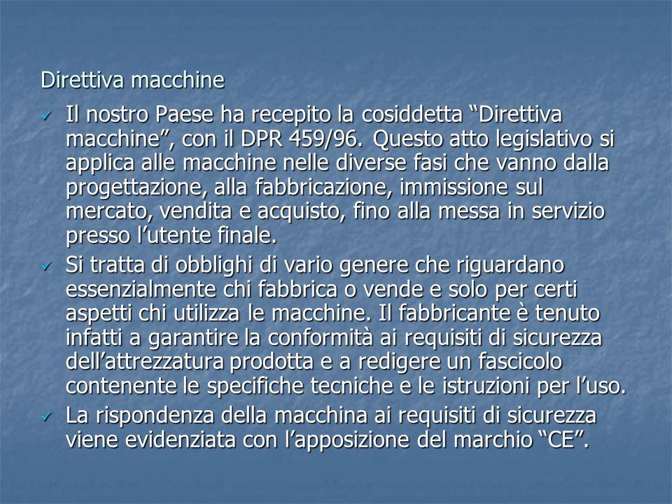 Direttiva macchine Il nostro Paese ha recepito la cosiddetta Direttiva macchine , con il DPR 459/96.