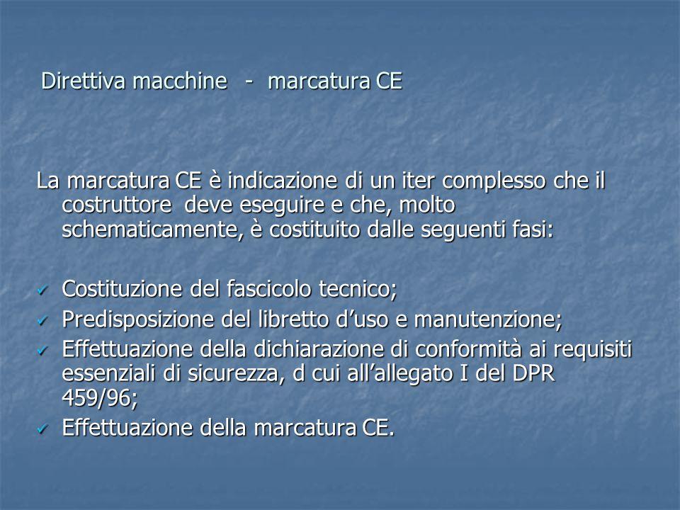 Direttiva macchine- marcatura CE La marcatura CE è indicazione di un iter complesso che il costruttore deve eseguire e che, molto schematicamente, è costituito dalle seguenti fasi: Costituzione del fascicolo tecnico; Costituzione del fascicolo tecnico; Predisposizione del libretto d'uso e manutenzione; Predisposizione del libretto d'uso e manutenzione; Effettuazione della dichiarazione di conformità ai requisiti essenziali di sicurezza, d cui all'allegato I del DPR 459/96; Effettuazione della dichiarazione di conformità ai requisiti essenziali di sicurezza, d cui all'allegato I del DPR 459/96; Effettuazione della marcatura CE.