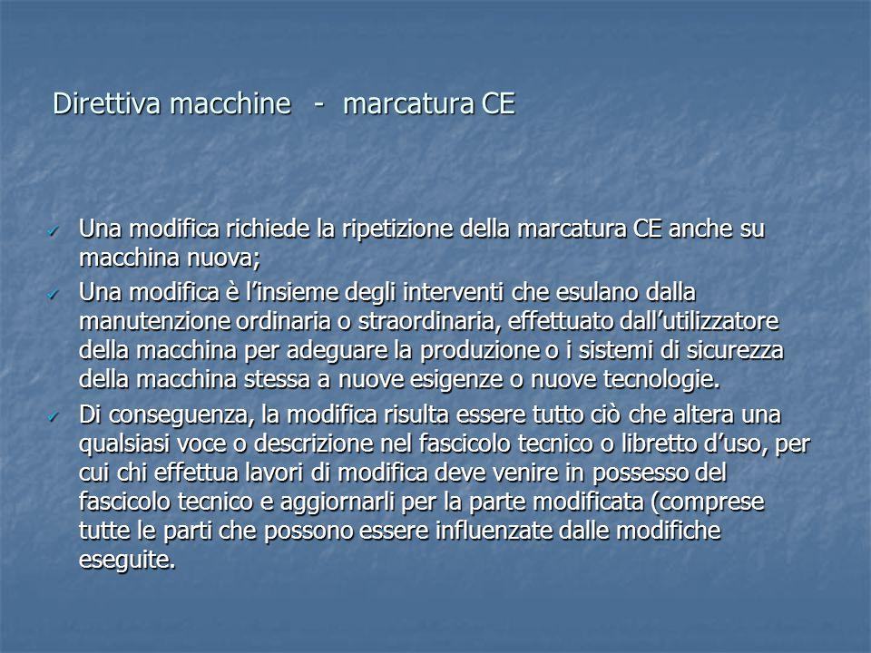 Direttiva macchine- marcatura CE Una modifica richiede la ripetizione della marcatura CE anche su macchina nuova; Una modifica richiede la ripetizione