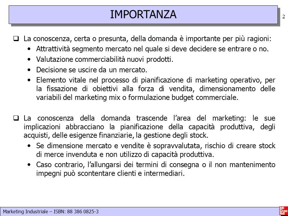 Marketing Industriale – ISBN: 88 386 0825-3 2  La conoscenza, certa o presunta, della domanda è importante per più ragioni:  Attrattività segmento mercato nel quale si deve decidere se entrare o no.
