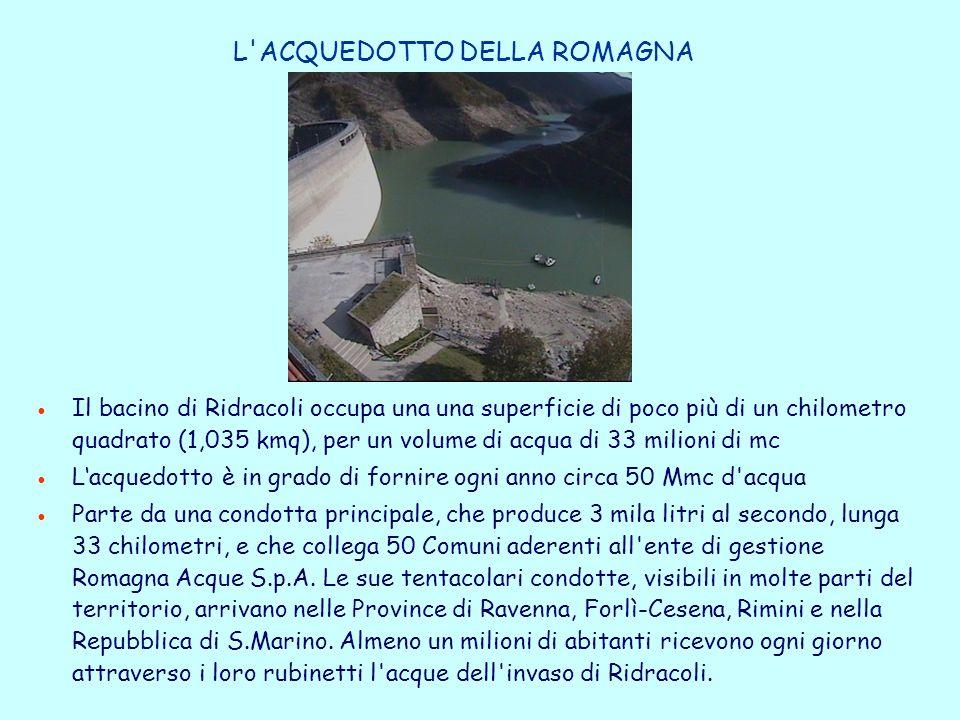 L ACQUEDOTTO DELLA ROMAGNA Il bacino di Ridracoli occupa una una superficie di poco più di un chilometro quadrato (1,035 kmq), per un volume di acqua di 33 milioni di mc L'acquedotto è in grado di fornire ogni anno circa 50 Mmc d acqua Parte da una condotta principale, che produce 3 mila litri al secondo, lunga 33 chilometri, e che collega 50 Comuni aderenti all ente di gestione Romagna Acque S.p.A.