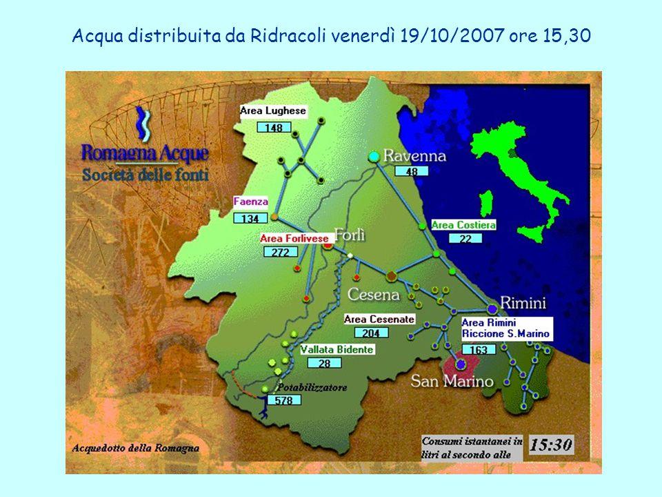 Acqua distribuita da Ridracoli venerdì 19/10/2007 ore 15,30
