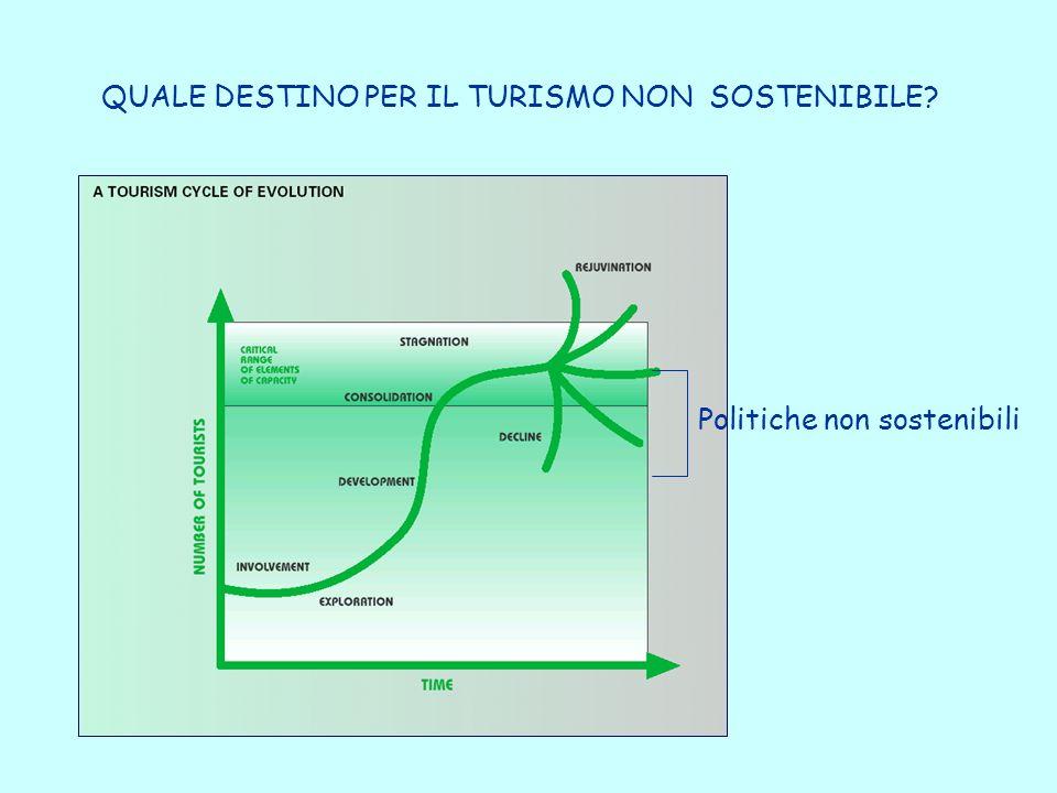 QUALE DESTINO PER IL TURISMO NON SOSTENIBILE Politiche non sostenibili