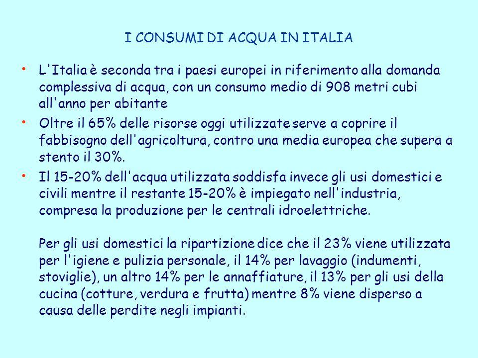 I CONSUMI DI ACQUA IN ITALIA L Italia è seconda tra i paesi europei in riferimento alla domanda complessiva di acqua, con un consumo medio di 908 metri cubi all anno per abitante Oltre il 65% delle risorse oggi utilizzate serve a coprire il fabbisogno dell agricoltura, contro una media europea che supera a stento il 30%.