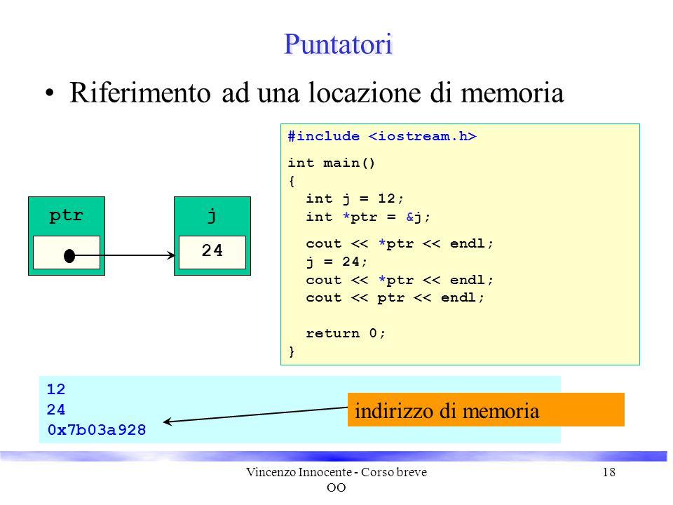 Vincenzo Innocente - Corso breve OO 18 12 24 0x7b03a928 Puntatori Riferimento ad una locazione di memoria j 12 ptr int main() { int j = 12; return 0;