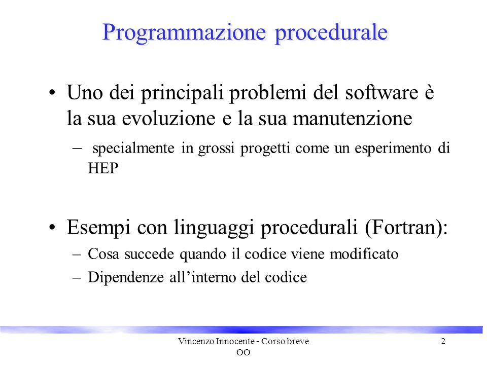 Vincenzo Innocente - Corso breve OO 2 Programmazione procedurale Uno dei principali problemi del software è la sua evoluzione e la sua manutenzione –