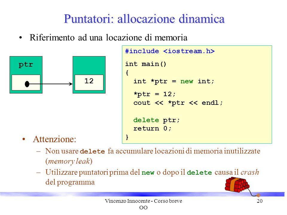 Vincenzo Innocente - Corso breve OO 20 Puntatori: allocazione dinamica Riferimento ad una locazione di memoria #include int main() { int *ptr = new in