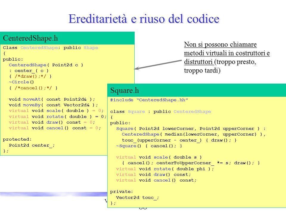 Vincenzo Innocente - Corso breve OO 27 Ereditarietà e riuso del codice Class CenteredShape: public Shape { public: CenteredShape( Point2d c ) : center