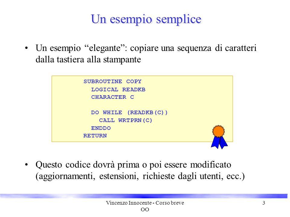 """Vincenzo Innocente - Corso breve OO 3 Un esempio semplice Un esempio """"elegante"""": copiare una sequenza di caratteri dalla tastiera alla stampante SUBRO"""